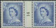 NZ Counter Coil Pair SG 728 1953 4d Queen Elizabeth II Join No. 16 (NCC/197)